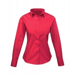 Camicia Donna Policotone Manica Lunga Rossa
