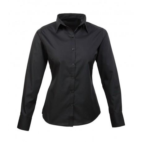 Camicia Donna Policotone Manica Lunga Nera