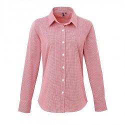 Camicia Donna Gingham Quadretti Bianco/Rosso