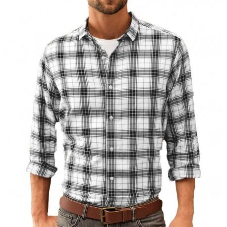 Camicia Uomo Ginmill Quadri Bianco/Nero