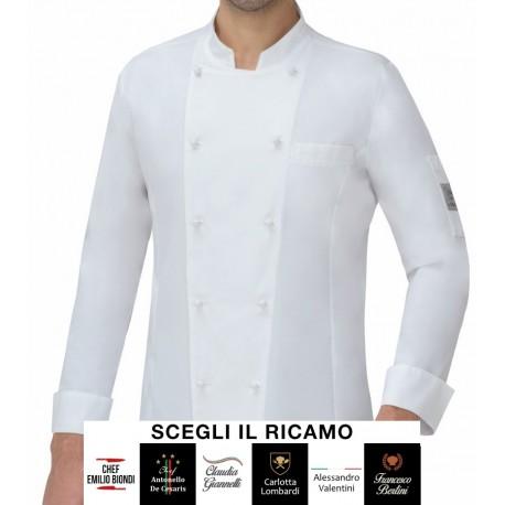 Giacca Cuoco Raphael LuxSatin Bianca Signature