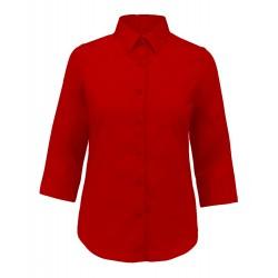 Camicia Donna Policotone Manica 3/4 Rossa