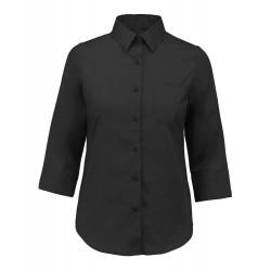 Camicia Donna Policotone Manica 3/4 Nera