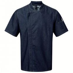 Giacca Cuoco Zip M/Corte Jeans Blu