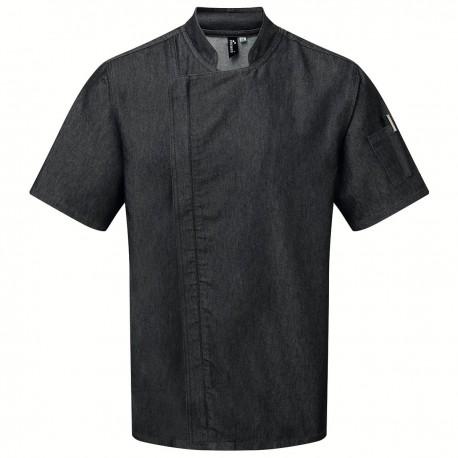 Giacca Cuoco Zip M/Corte Jeans Nero