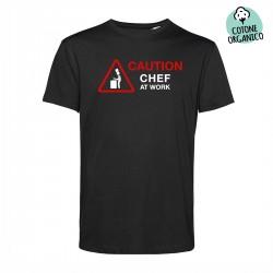 T-Shirt Organica Chef At Work 20 Nera