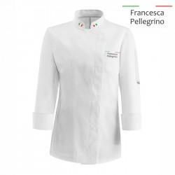 Giacca Cuoco Donna Chef Italia Microfibra Bianca