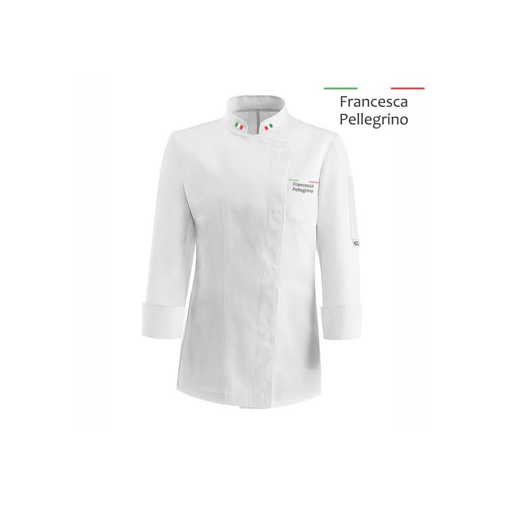 Giacca Cuoco Donna Chef Italia Microfibra Bianca b89386d92809
