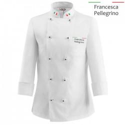Giacca Cuoco Donna Chef Italia Bianca