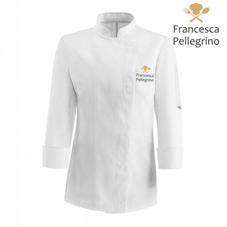 Giacca Cuoco Donna Simbolo Microfibra Bianca